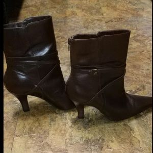 "Chocolate Brown Unisa Leather Ankle Boots 2"" Heel"